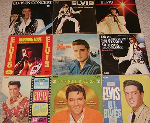 ELVIS PRESLEY 9 ALBUM LOT: Blue Hawaii, GI Blues, Gold Records 4, Self-titled, Blvd. Memphis TN, Burning Love, Christmas Album, In Concert, Madison Square Garden (Hawaii Album Blue Elvis)