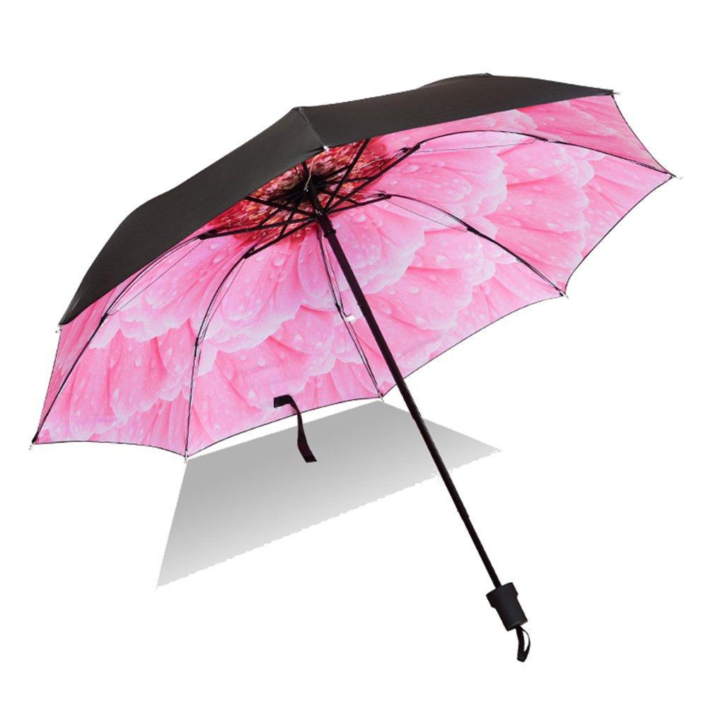 Anqeeso Femme Voyage lumière pluie Soleil Parapluie compact Parasol avec protection UV