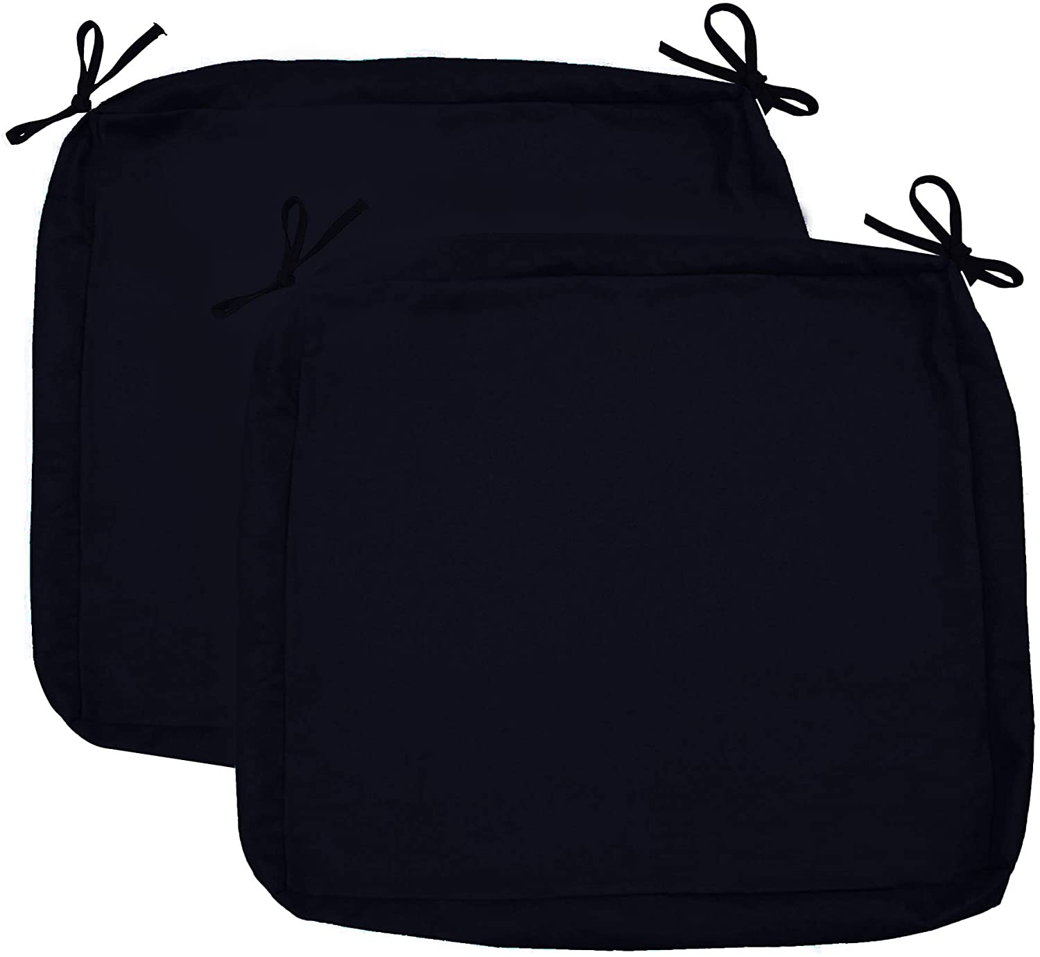 "Sigmat Outdoor Seat Cushion Cover Water Repellent Square Chair Cushion Cover-Only Cover Black 20""x20""x2""(2 Covers)"