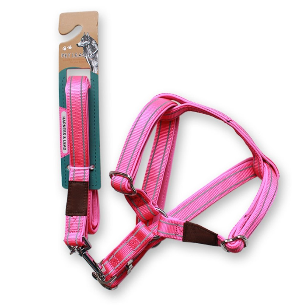 TLMY Dog Chain Dog Leash Chest Straps Hyena Rope Samoyed golden Retriever Large Dog Pet Supplies Pet Chain (color   PINK, Size   L120W1.5CM)