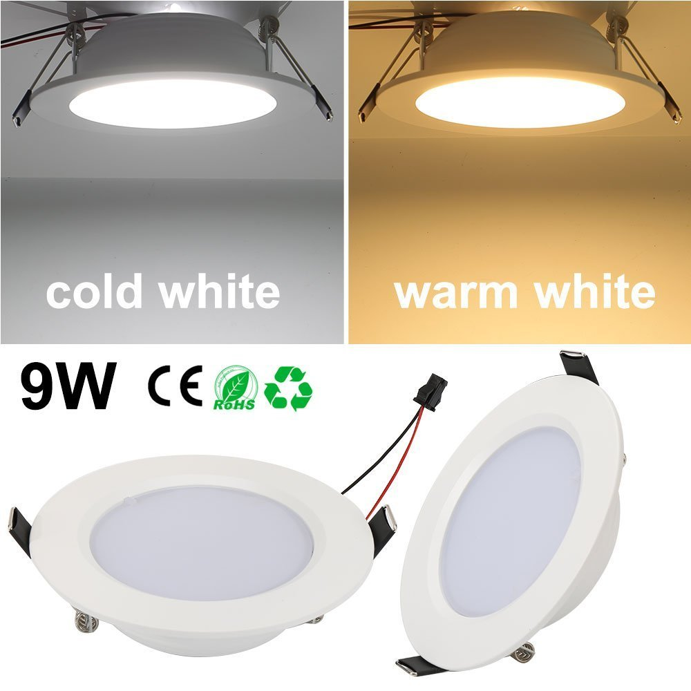 LED Panel Light Lamp Dimmable, 9W Round Ultra-Thin Recessed Ceiling Light, 700lm, Warm White 3000K, Cut Hole 3.15 Inch, Downlight with LED Driver for Home Office Commercial Lighting AC85-265V -10PACK by EnerEco (Image #5)