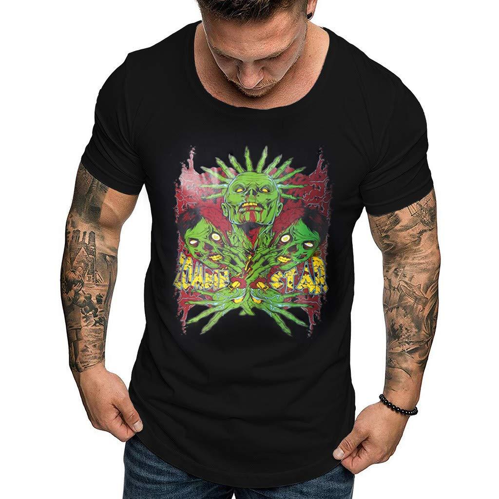 Mens Summer T-Shirt Fashion Casual Top O-Neck Print Tee Short Sleeve Top Blouse