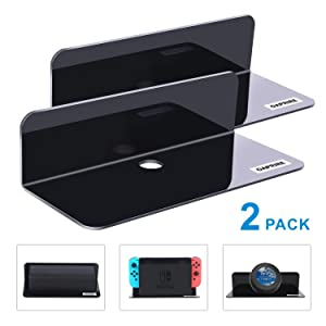 OAPRIRE Acrylic Floating Wall Shelves Set of 2, Damage-Free Expand Wall Space, Small Display Shelf for Nintendo Switch/Smart Speaker/Action Figures with Cable Clips