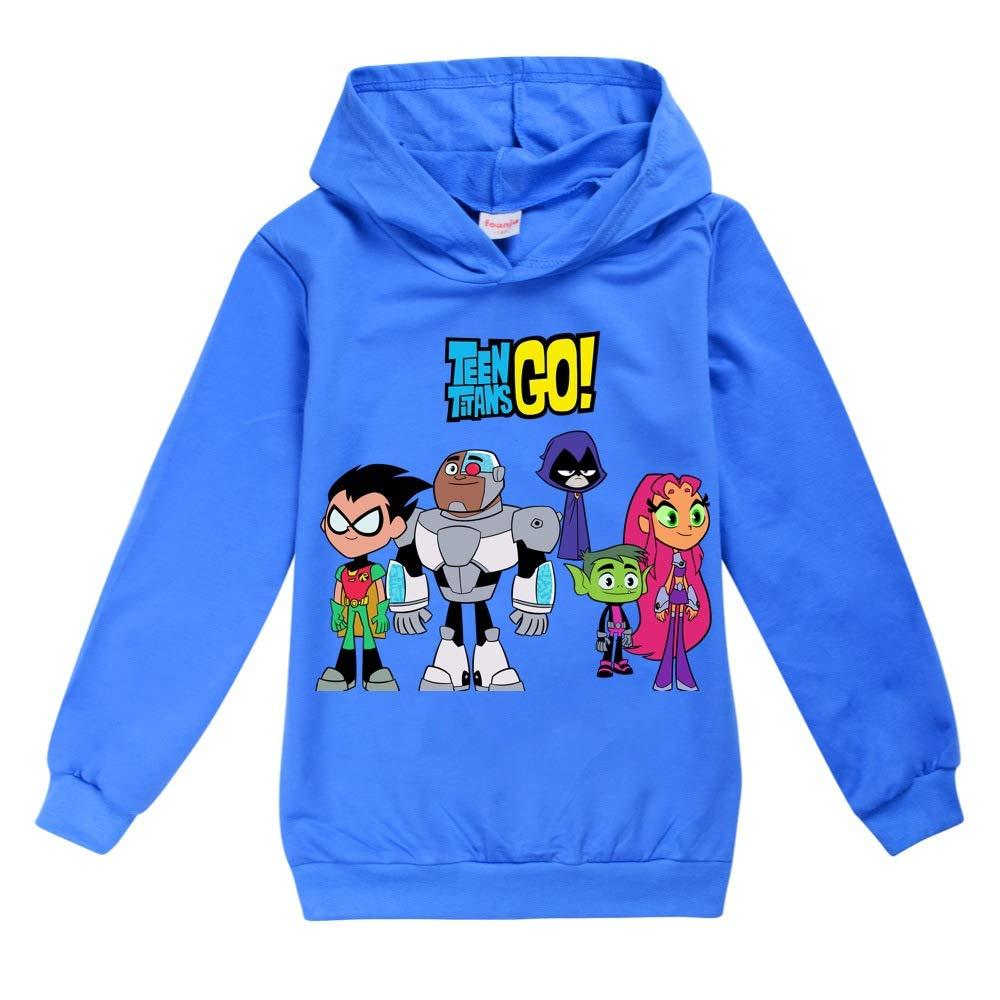 Tjolllpkfjg Unisex Teen Titans Go Cappotti Felpe Bambini Pullover Fumetto Presentazione Felpe Ragazze dei Ragazzi Sottile Cappuccio a Maniche Lunghe T-Shirt Teen Titans Go Giacche