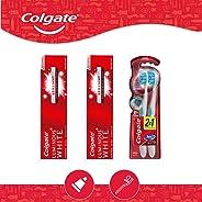 Colgate Colgate Pack 2 Pastas Dentales 125 Ml + 2 Cepillos Dentales Luminous White, color, 4 count, pack of/paquete de