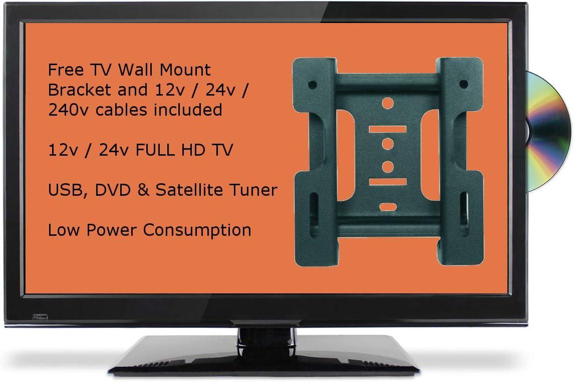 vingt-Deux Pulgadas Slim Full HD 12 V/24 V TV Full HD con DVD, TNT, Receptor USB y Tuner Satellite para caravanas HGV Boats camionetas DC 12 Voltios + 240 V: Amazon.es: Electrónica