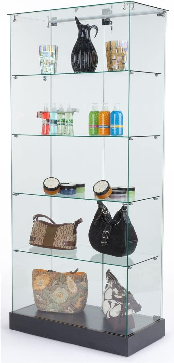 Tempered Glass Frameless Design Display Case with 4 Shelves and Black Laminate Base, 31 x 71 x 15-3 4-Inch