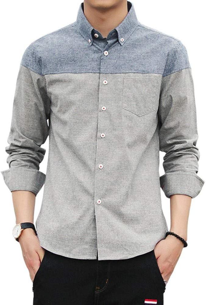 LIBAIYU Lino Camisas Camisa de Doble puño para Hombre, Camisa de Verano de Talla Grande de Lino y algodón, Hombres de Fibra de bambú Slim Fit Solid Casual Camisas con Botones elásticos: