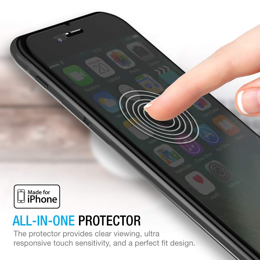 iPhone 8 Plus / 7 Plus Screen Protector, Maxboost [Privacy Black,2 Pack] iPhone 8 Plus Screen Privacy Screen Protector Anti-Spy Tempered Glass Screen Premium Anti-Scratch/Fingerprint, Easy Install by Maxboost (Image #5)