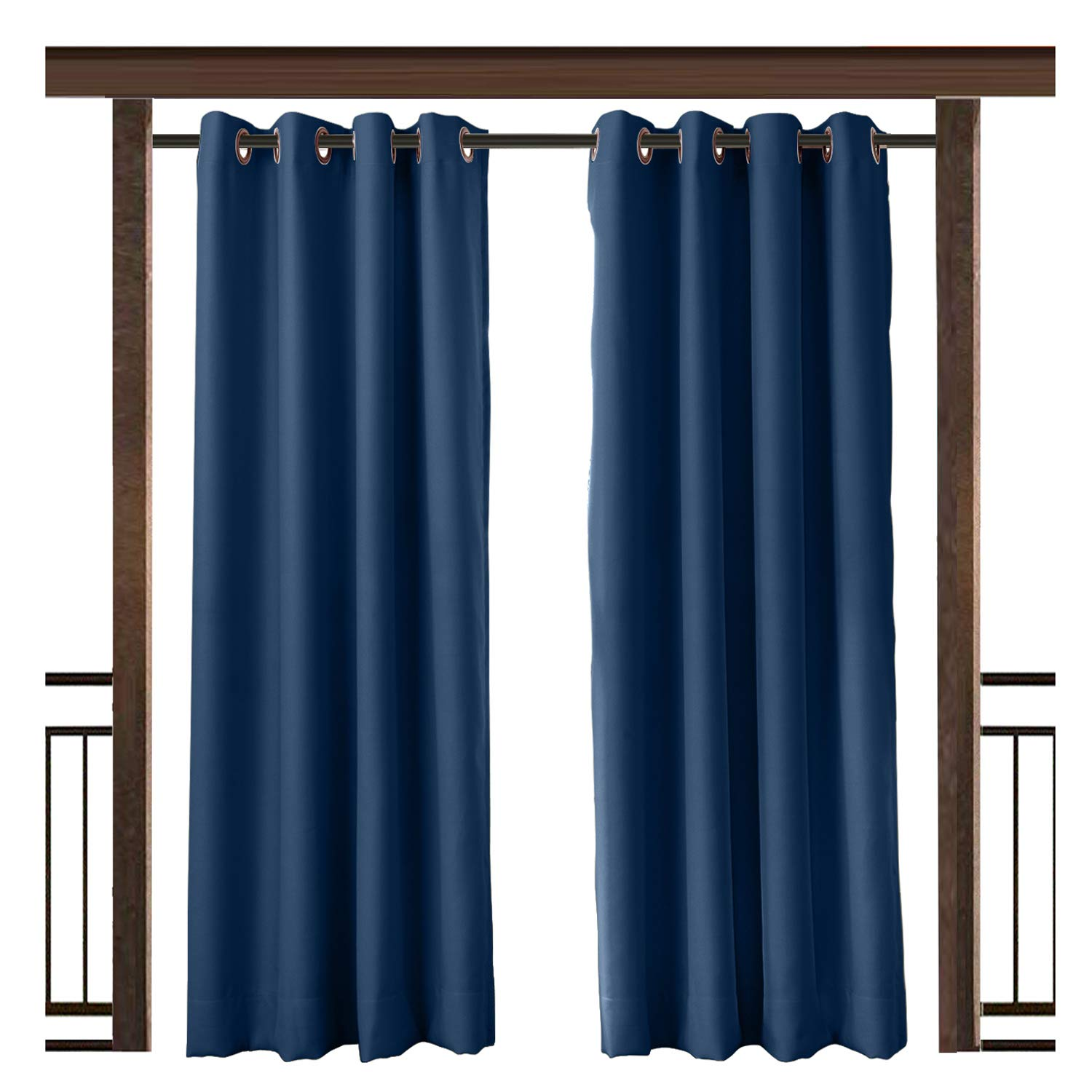 TWOPAGES Outdoor Waterproof Curtain Navy Rustproof Grommet Drape, 150'' W x 96'' L for Front Porch Pergola Cabana Covered Patio Gazebo Dock Beach Home (1 Panel)