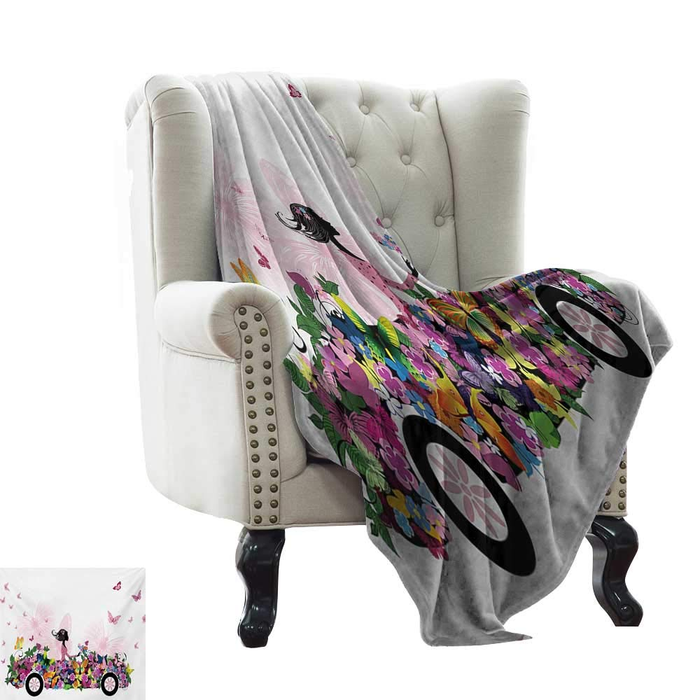 color07 60 x70  Inch Luxury Flannel Fleece Blanket Cars,Woman Driving Pink Vintage Car Sketchy Cityscape and Butterfly Girls Cartoon,Hot Pink Grey Black Velvet Plush Throw Blanket 50 x60