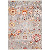 The Curated Nomad Laidley Grey and Red Area Rug - 5' x 7'9""