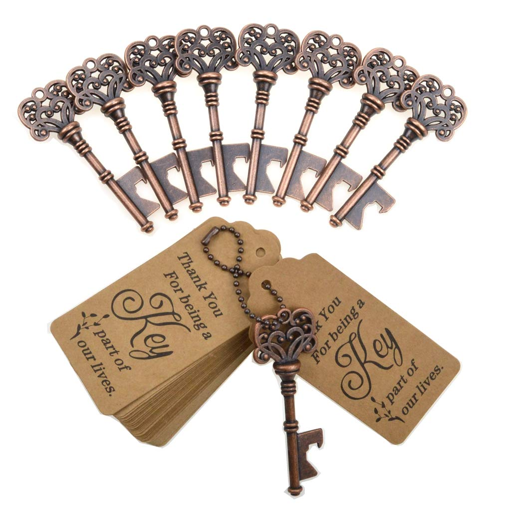 DerBlue 60 PCS Key Bottle Openers,Vintage Skeleton Key Bottle Opener, Wedding Favors Key Bottle Opener Rustic Decoration with Escort Tag Card Thank You and Gold Ribbon