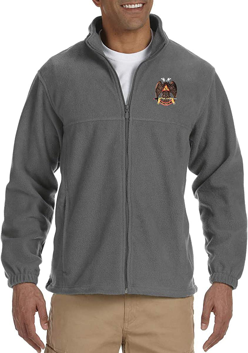 32nd Degree Scottish Rite Embroidered Masonic Mens Fleece Full-Zip Jacket
