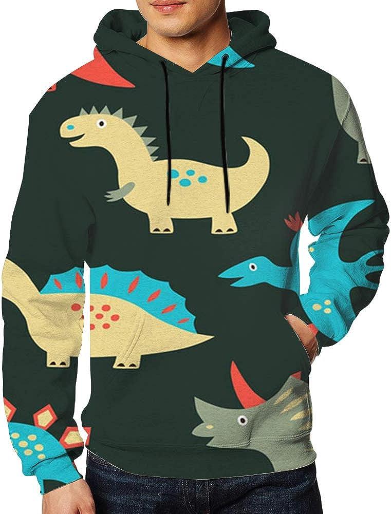 TCLAND Dinosaur Mens Unisex Hoodies Sweatshirt Pullovers Tracksuit