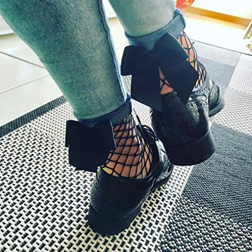 Women Fishnet Socks, Inkach Trendy Girls Fish Net Socks Plain Top-Ankle Short Socks Stylish Black