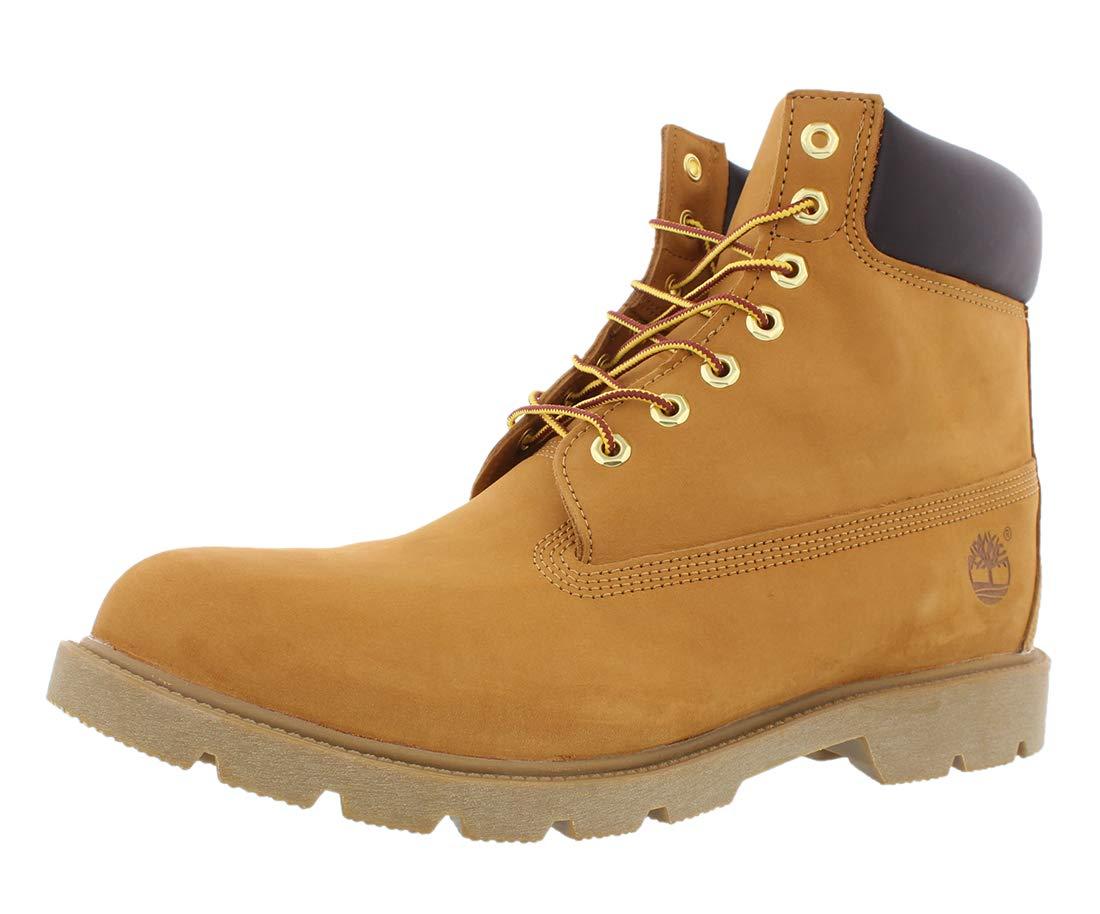 Timberland Men's 6'' Basic Boot-Contrast Collar, Wheat Nubuck, 12 M US by Timberland
