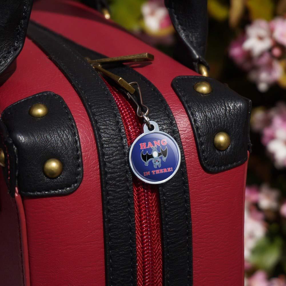 Hang in There Bat Funny Humor Jacket Handbag Purse Luggage Backpack Zipper Pull Charm