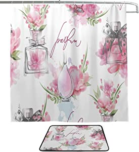 Perfume Romantic Scent Design Retro Color Single-Sided Printing Shower Curtain and Non-Slip Bath Mat Rug Floor Mat Combination Set with 12 Hooks for Bathroom Decor and Daily Use