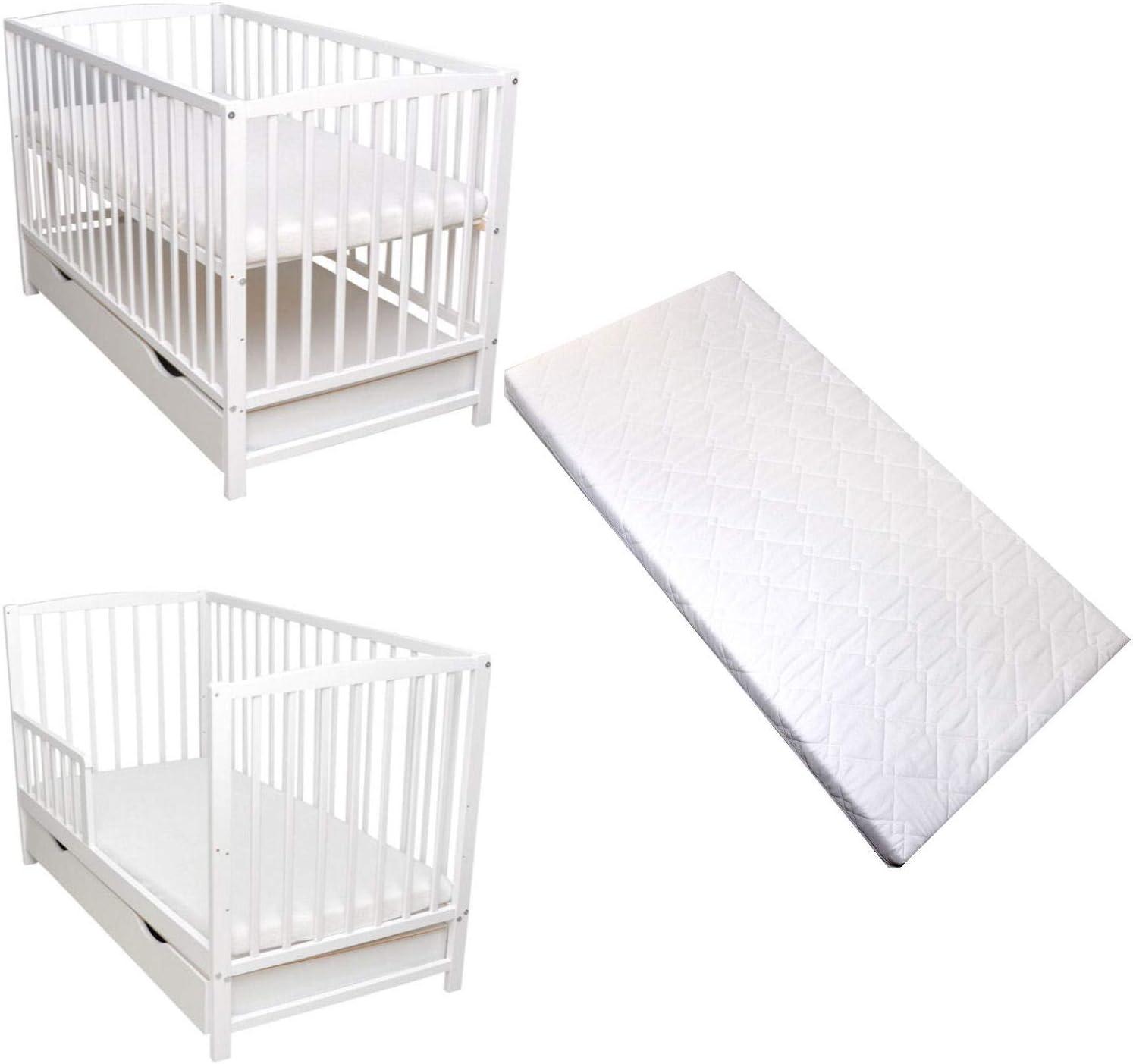 Rundum Barrera de protección para cuna 2 en 1, 120 x 60, color blanco, cómoda, de espuma, convertible en cajón de cama infantil