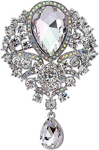 Clear Diamante Crystal Flower Silver Brooch Pin Wedding Bridal Party Bouquet