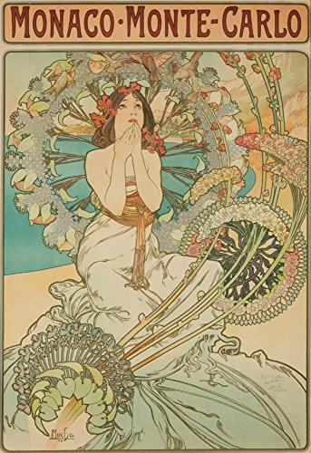 (Monaco - Monte - Carlo (signed) Vintage Poster (artist: Mucha, Alphonse) France c. 1897 (9x12 Fine Art Print, Home Wall Decor Artwork Poster))
