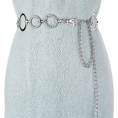 LONFENN President metal waist chain tension tension the body belt decorated dresses sticky stream of lap 130cm, silver,78cm-92cm