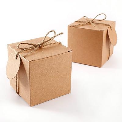 100x Boîte à dragées kraft 7cm+ cordon jute étiquette Bonbonnière Faveur Cadeau