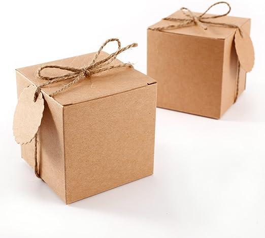 Set de 50 Cajas para dulces bombones Caja kraft de boda regalo R/ústico 5x5x5cm Cajita de cuadro con Coraz/ón Transparente CLE DE TOUS