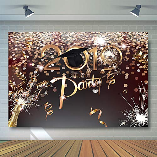 COMOPHOTO 8x6ft Graduation Party Photography Backdrops Class of 2019 Golden Ribbon Glitter Champagne Decorations Photo Booth Background Props -