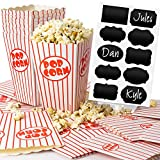 Chefast Popcorn Box Pack - 22x Red and White Striped Boxes With 10x Chalkboard Stickers - Ultimate Party Favor - Perfect for Birthday and Theater Themed Parties, Movie Nights, Weddings, Carnivals etc.