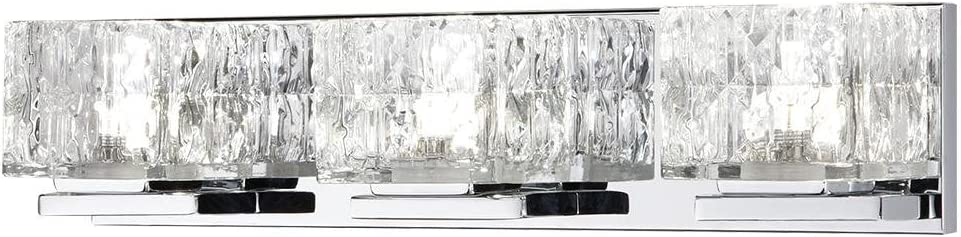 Home Decorators Collection 75-Watt Equivalent 3-Light Chrome Integrated LED Vanity Light with Clear Cube Glass