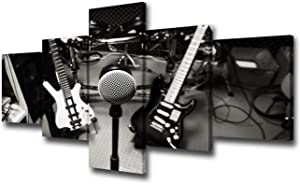 "Black and White DJ Music Studio Wall Art Rock Band Canvas Prints Home Decor Decals for Living Room Bedroom Modern Still Life Pictures 5 Panel Posters HD Painting Framed Ready to Hang - 50""W x 24""H"