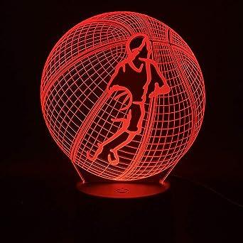 orangeww Baloncesto 3d / Decoración de sala de estar Luz de noche ...
