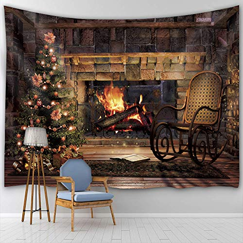 BTTY Christmas Tapestry Wall Hanging Tapestry Fireplace Tapestry Tree Tapestry Christmas Tree Tapestry for Bedroom Drom Decor,70L×59W Inches