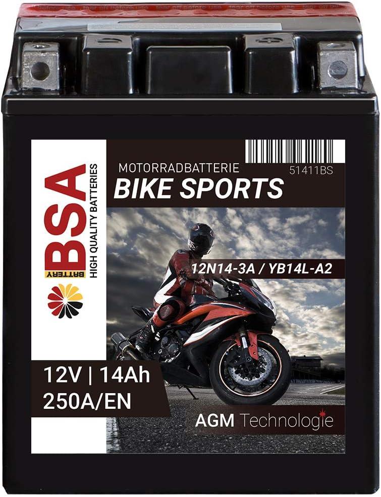 Bsa Motorrad Batterie Agm Yb14l A2 14ah 12v 250a En Motorradbatterie Cb14l A2 Erstausrüsterqualität Baumarkt