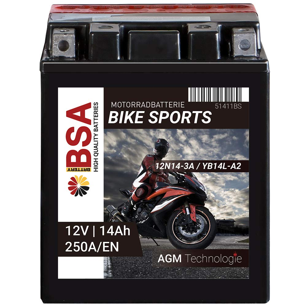 BSA Motorrad Batterie AGM YB14L-A2 14AH 12V 250A//EN Motorradbatterie CB14L-A2 Erstausr/üsterqualit/ät trocken vorgeladen inkl S/äurepack total wartungsfreie Starterbatterie