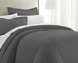Becky Cameron ienjoy Home 3 Piece Double Brushed Microfiber Duvet Cover Set, Twin XL, Gray