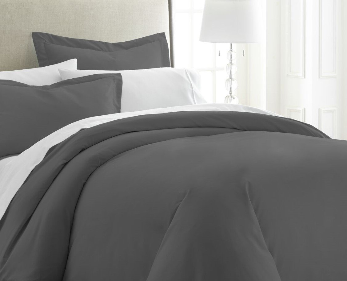 ienjoy Home 3 Piece Home Collection Premium Luxury Double Brushed Duvet Cover Set, King, Gray
