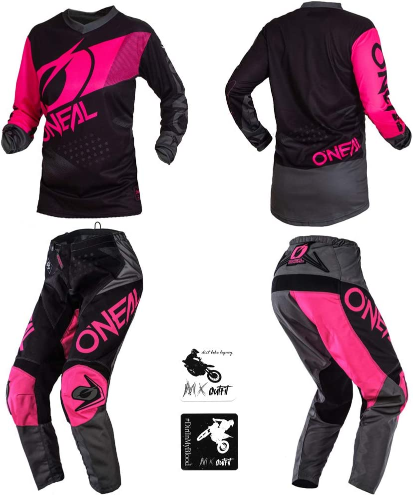 Pants Women 7//8 // Jersey Medium ONeal Element Factor Pink Women motocross MX off-road dirt bike Jersey Pants combo riding gear set