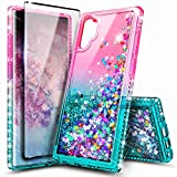 NageBee Case for Samsung Galaxy Note 10+ Plus/Note 10 Plus 5G, Glitter Liquid Floating Bling Waterfall Girls Women Cute Phone Case with Soft Screen Protector (3D Curved Full Coverage) -Pink/Aqua