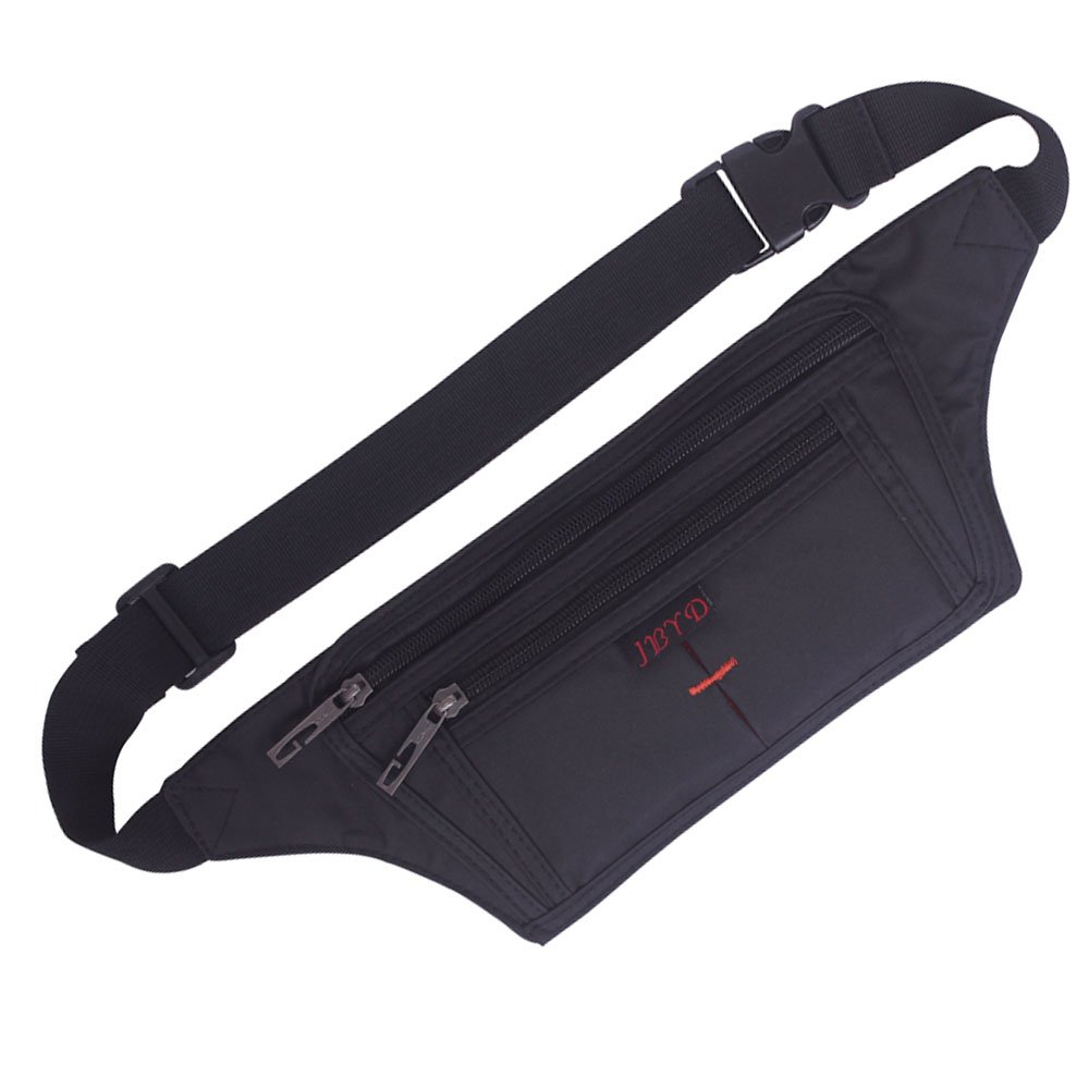 Naoki Outdoor Sports Running Jogging Cycling Hiking Camping Climbing Travel Ultra-thin Waterproof Polyester Waist Pack / Bag Runner Belt(Black)
