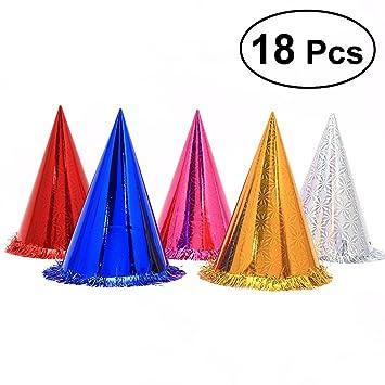 TOYMYTOY 18pcs Sombreros del cono de la fiesta de cumpleaños con el huésped que brilla de la borla para los cabritos y los adultos (color de la ...