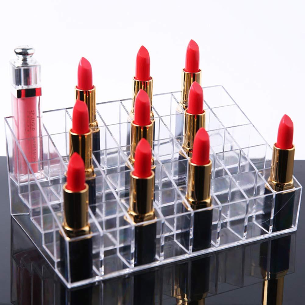Organizzatore di rossetto a 24 fessure con coperchio trasparente in plastica trasparente con supporto per rossetto espositore con coperchio antipolvere per trucco cosmetico contenitore per cosmetici Yunhigh