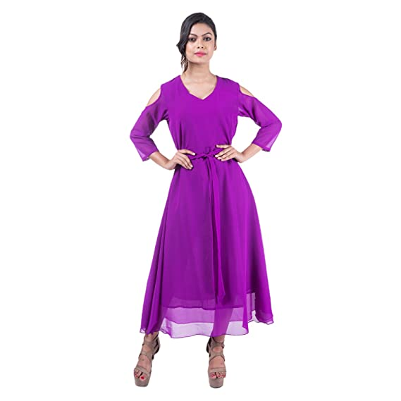 Mamosa Purple Georgette Cold Shoulder 3/4th Sleeve gown for latest ...