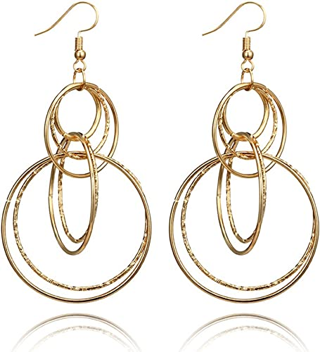 Circle Round Borla de flecos pendientes En forma de abanico Dangle Drop Earring