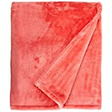 Northpoint Cashmere Plush Velvet Throw, Coral, 50x60