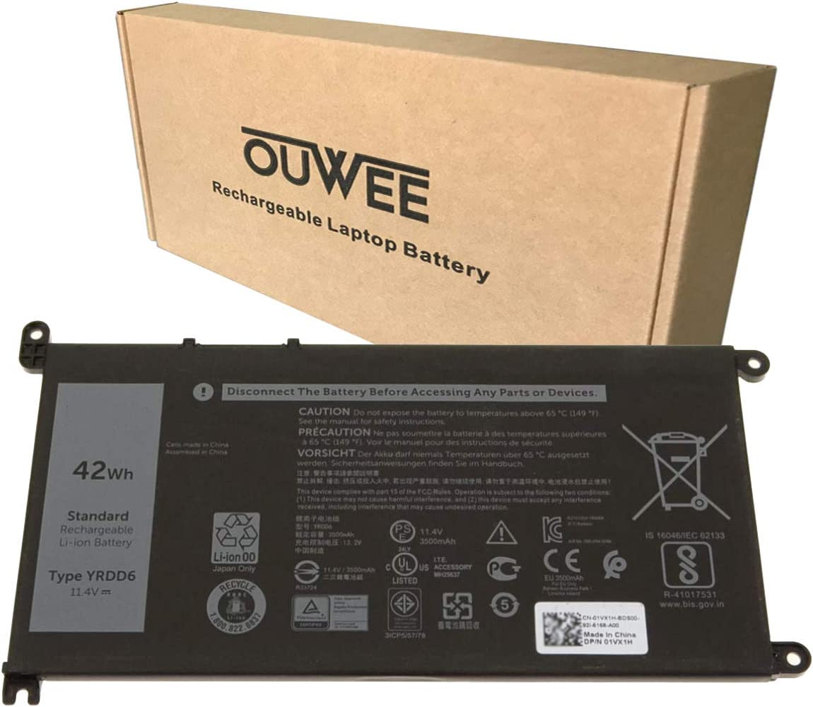 OUWEE YRDD6 Laptop Battery Compatible with Dell Inspiron 5481 5482 5485 5491 2-in-1 5493 5584 5593 5590 Vostro 5481 5581 5490 5590 Series 0YRDD6 1VX1H 01VX1H VM732 0VM732 11.4V 42Wh 3500mAh