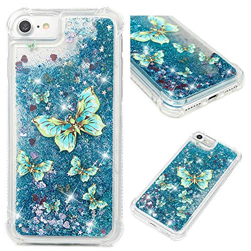 (iPhone 7 Case, iPhone 8 Case(Not Plus), MOLLYCOOCLE Blue Butterfly Glitter 3D Bling Sparkle Flowing Liquid Transparent Shockproof TPU Silicone Core + PC Frame Protective Defender Cover for iPhone 7/8)