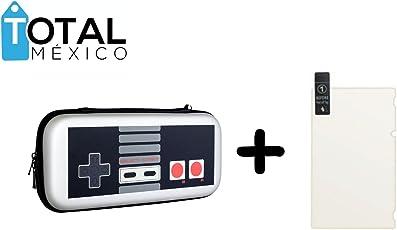 TOTAL MEXICO GADGETS Nintendo Switch Kit Protección Y Accesorios Case Cristal EMPUÑADURAS Estuche Funda Joy Kit para CONSOLO DE Videojuegos - by Total México Gadgets - (Retro + Mica)